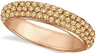 Hidalgo Micro Pave 3 Rows Champagne Diamond Ring 18k Rose Gold (0.91ct)