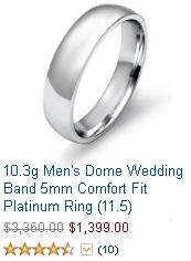 Mens Dome Platinum Wedding Band 5mm Comfort Fit Mens Platinum Wedding Band