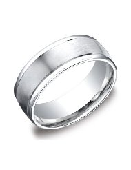mens platinum 8mm comfort fit wedding band ring with high polished round edges Mens Platinum Wedding Band