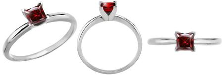 4 Prong Solitaire Platinum Ring with Fancy Deep Red Diamond Colored Diamonds