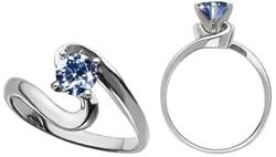 Solitaire Engagement Platinum Ring with Blue Diamond Colored Diamonds