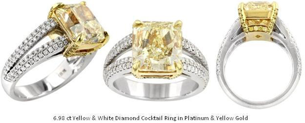 Yellow and White Diamond Ring in Platinum and Yellow Gold Colored Diamonds