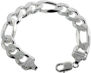 Sterling-Silver-Italian-Figaro-Link-Necklace-Chain-15mm