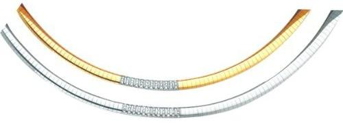 14K-Two-Tone-Gold-0.5-cttw-HI-Diamond-Omega-Chain-16-Inches