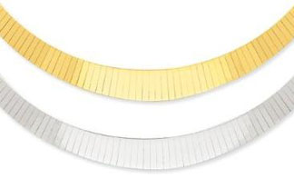 14k-Gold-Two-tone-4-10mm-Graduated-Flat-Reversible-Omega-Chain-Necklace