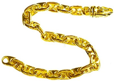 10K Solid Yellow Gold Heavy Anchor Mariner Chain Bracelet