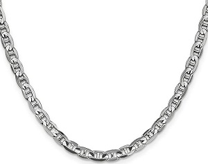 14k White Gold 4.4mm Concave Anchor Chain