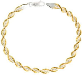 Sterling-Silver-Italian-Twisted-Herringbone-Chain-Necklace-Chain-Two-Tone-Gold-Finish