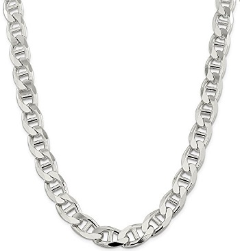 Sterling Silver 13.5mm Flat Anchor Necklace For Men