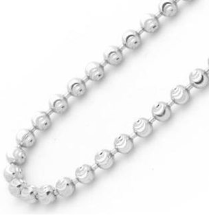 14K-White-Gold-2.5mm-Diamond-Cut-Ball-Chain-Necklace-22-Inches