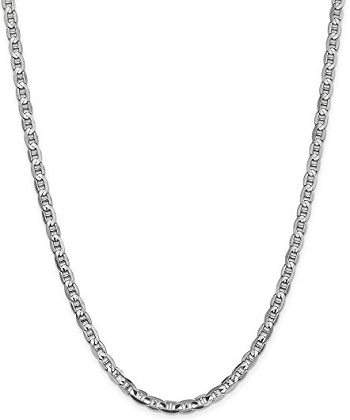 14k White Gold 4.5mm Concave Anchor Chain