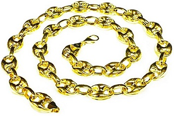 14k Yellow Gold Men's Puffed Anchor Mariner 28 Inches Chain Necklace