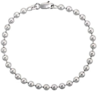 Sterling-Silver-Italian-Pallini-Bead-Ball-Chain-Necklace-5mm