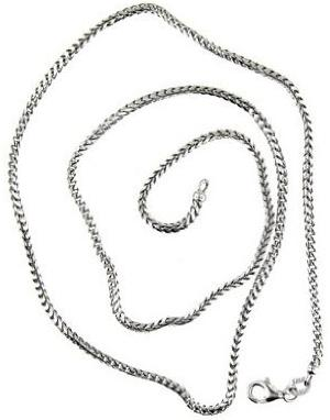 14 Kt White Gold 20 Inch Foxtail Chain Men Chain Necklace
