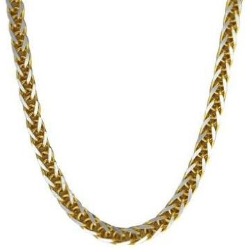 14k Two Tone White and Yellow Gold 1.8mm Wheat Chain Necklace Men Chain Necklace