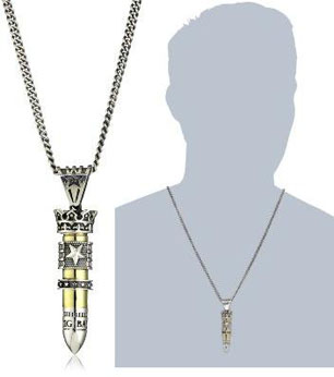 King-Baby-Bullet-Mens-38-Special-Bullet-with-Silver-Star-Flag-and-Star-Ring-Pendant-Necklace