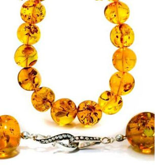 Natural-Baltic-Honey-Amber-Sterling-Silver-Round-Beaded-Necklace-30-Inches