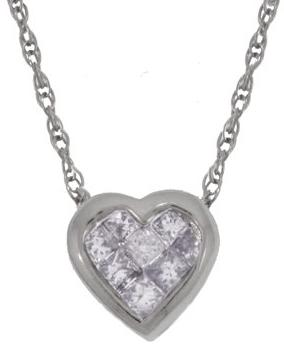 White Gold Serpentine Chain With Diamond Heart Pendant Men Chain Necklace