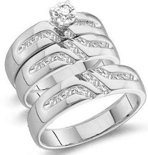 10k White Gold His and Hers Trio 3 Three Ring Bridal Matching Engagement Wedding Ring Band Set Round Diamonds Solitaire Center Setting Mens Jewlery