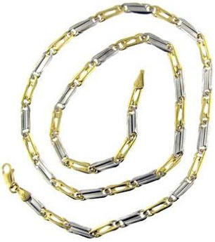 14 Kt Yellow White Gold 20 Inch Mens Link Chain White Gold Chains For Men
