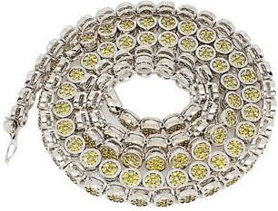 14K White Gold Mens Yellow Diamond Chain 17.10 Ctw White Gold Chains For Men