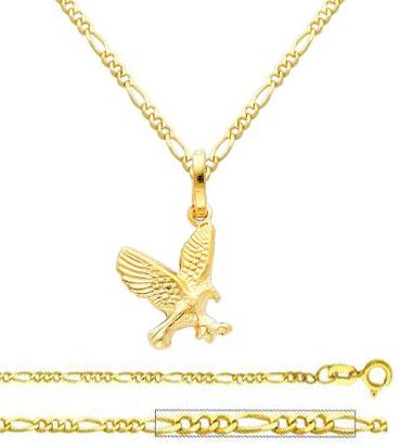 14K Yellow Gold Flying Eagle Charm Pendant with Yellow Gold 1.6mm Figaro Chain Necklace Figaro chain: Incredibly Elegant & Fashionable