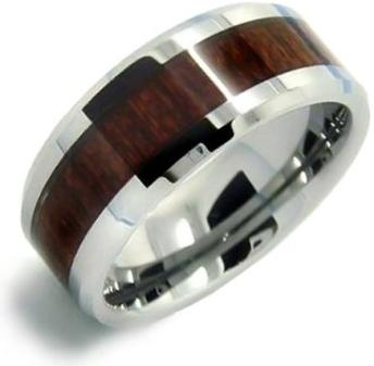 Bling Jewelry Wood Inset Mens Tungsten Beveled Edge Ring 8mm Mens Jewlery