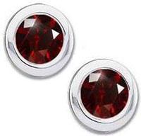 Classic-Round-Bezel-Set-Platinum-Stud-Earrings-with-Deep-Red-Diamond