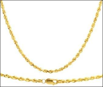 Duragold Mens 14k Yellow Gold Solid Diamond Cut Rope Chain Necklace 3.0mm  Mens Jewlery