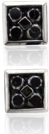 Mens 10k Black Gold Square Black Diamond Earrings Studs 0.50 carat Black Diamond Earrings For Men