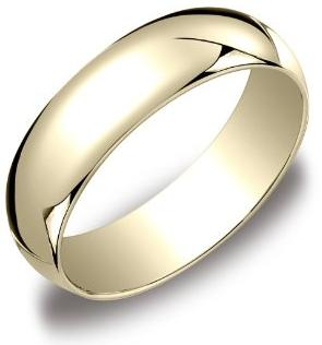 Mens 10k Yellow Gold 6mm Traditional Plain Wedding Band Mens Jewlery