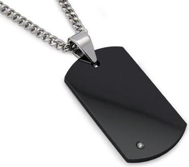 Mens-Black-Tungsten-Carbide-Dog-Tag-with-Diamond-22-Inches-Steel-Curb-Link-Chain