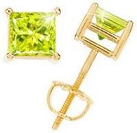 Princess-Cut-14K-Yellow-Gold-Stud-Earrings-with-Greenish-Yellow-Diamond