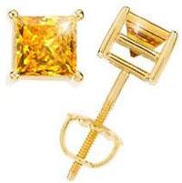 Princess-Cut-18K-Yellow-Gold-Stud-Earrings-with-Orange-Yellow-Diamond
