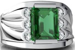 14K White Gold Emerald-cut Created Emerald Mens Ring