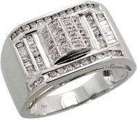 14k White Gold Mens Diamond Ring with 0.59 Carat Baguette & Brilliant Cut Diamonds