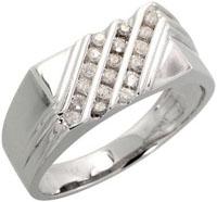 14k White Gold Rectangular Mens Diamond Ring