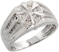 14k White Gold Star Mens Diamond Ring