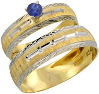 10k Gold 2 Piece 0.25 Carat Deep Blue Sapphire Ring Set 11 Mens Engagement Rings