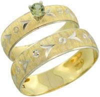 10k Gold 2 Piece 0.25 Carat Green Sapphire Ring Set 10 Mens Engagement Rings
