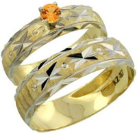 10k Gold 2 Piece 0.25 Carat Orange Sapphire Ring Set 12 Mens Engagement Rings