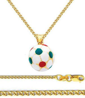 14K Yellow Gold Medium Soccer Ball Enamel Charm Pendant with Yellow Gold 1.5mm Flat Open wheat Chain Necklace