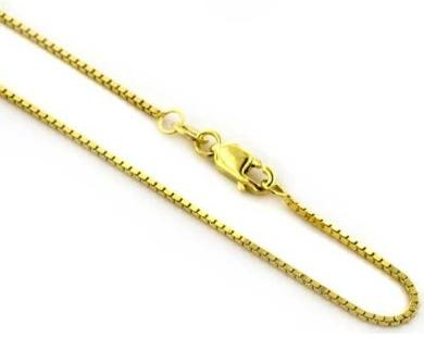 14k Yellow Gold 1 mm Box Chain 20 inches