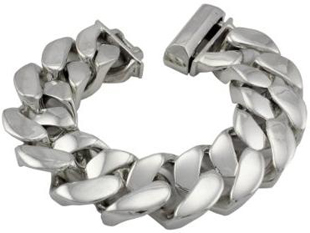 21mm Solid 925 Sterling Silver Cuban Link Chain Curb Bracelet