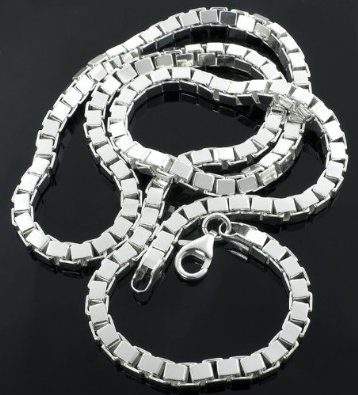 5mm Men's Real Solid 925 Sterling Silver 3D Box Link Chain Necklace or Bracelet
