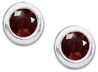 Classic Round Bezel Set Platinum Stud Earrings with Deep Red Diamond