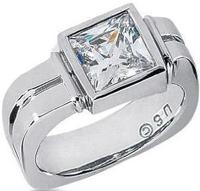 Men s Platinum Diamond Ring 1 Princess Diamond 2.51 ctw