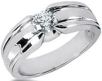 Men s Platinum Diamond Ring 1 Round Stone 0.75 ctw