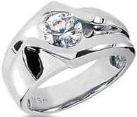 Men s Platinum Diamond Ring 1 Round Stone 1.25 ctw