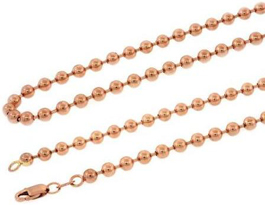 Men's Real Solid 10K Rose Gold Ball Link Chain Necklace